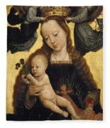Virgin And Child With Angels Fleece Blanket