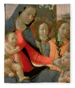 Virgin And Child With St John The Baptist And The Three Archangels Fleece Blanket