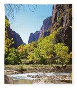 Virgin River In Zion National Park Fleece Blanket