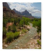 Virgin River Through Zion National Park Fleece Blanket