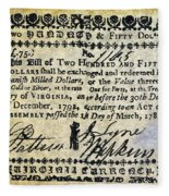 Virginia Banknote, 1781 Fleece Blanket