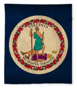 Virginia State Flag Art On Worn Canvas Fleece Blanket