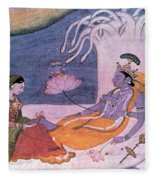 Vishnu And Lakshmi Float Across Cosmos Fleece Blanket