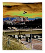 Visiting Spokane Fleece Blanket