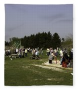 Visitors Having A Good Time At The Blair Drummond Safari Park Fleece Blanket