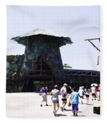 Visitors Heading Towards The Waterworld Attraction At Universal Studios Fleece Blanket