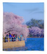 Visitors To The Blooms On The Basin Fleece Blanket