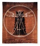 Vitruvian Cyberman On Mars Fleece Blanket