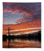 Vivid Skyscape - Summer Sunset At Toronto Beaches Marina Fleece Blanket
