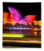 Vivid Sydney By Kaye Menner - Opera House ... Triangles Fleece Blanket