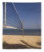 Vollyball Net On The Beach Fleece Blanket