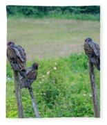 Vulture Fence Line 3 Fleece Blanket