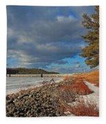 Wachusett Reservoir Frozen Fleece Blanket