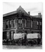 Wagon Train In Downtown Spokane - 1880 Fleece Blanket