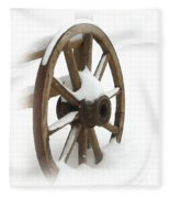 Wagon Wheel In Snow Fleece Blanket