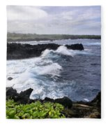 Waianapanapa Pailoa Bay Hana Maui Hawaii Fleece Blanket