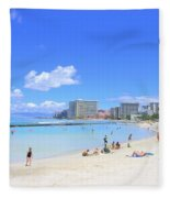 Waikiki Beach Fleece Blanket