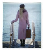 Waiting For A Ship Fleece Blanket
