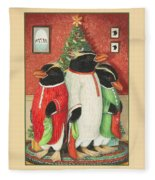 Waiting For Santa Claus Fleece Blanket
