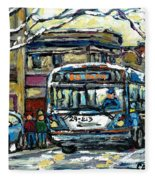 Waiting For The 80 Bus Montreal Memories Winter City Scene Painting January Art Carole Spandau Art Fleece Blanket