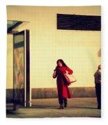 Waiting For The Bus - New York City Street Scene Fleece Blanket