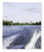 Wake From The Wash Of An Outboard Motor Boat In A Lagoon Fleece Blanket