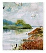 Walk Along The Shore Fleece Blanket