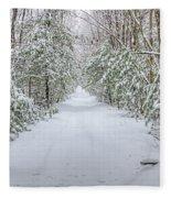Walk In Snowy Woods Fleece Blanket
