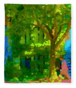 Walk In The City Past Blue Houses Staircases And Shade Trees Montreal Summer Scene Carole Spandau Fleece Blanket