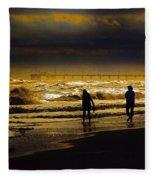 Walk In The Surf Colored Fleece Blanket