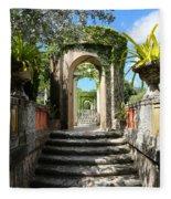 Walk In Vizcaya Gardens Fleece Blanket