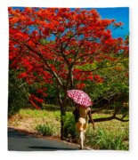 Walking Along The Road. Mauritius Fleece Blanket