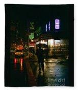 Walking Home In The Rain Fleece Blanket