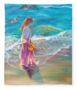 Walking In The Waves Fleece Blanket