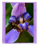 Walking Iris With Purple Border Fleece Blanket