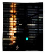 Walking Man - Architecture Of New York City Fleece Blanket