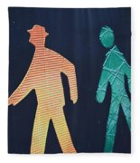 Walking Man Symbol Fleece Blanket