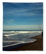 Walking On Seaside Beach Fleece Blanket