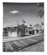Walking On The Boardwalk In Black And White Walt Disney World Fleece Blanket