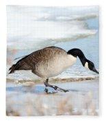 Walking On The Snow Fleece Blanket