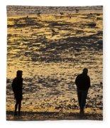 Strangers On A Shore - Walking Silhouettes Fleece Blanket