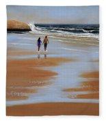 Walking The Beach Fleece Blanket