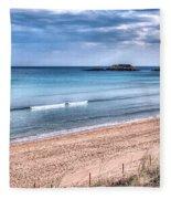 Walking The Beach On A Peaceful Morning Fleece Blanket