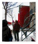 Walking The Dog Through Snowy Streets Of Montreal Urban Winter City Scenes Carole Spandau Fleece Blanket