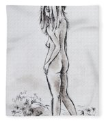 Walking The Flowers Fleece Blanket