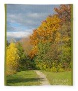 Walking Through Autumn Fleece Blanket