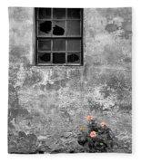 Window And Flowers Fleece Blanket