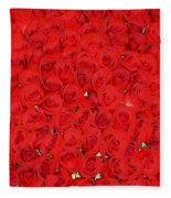 Wall Of Red Roses Fleece Blanket