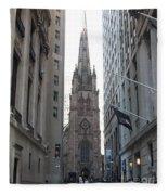Wall Street Leading To Trinity Church Fleece Blanket