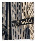 Wall Street Sign Fleece Blanket